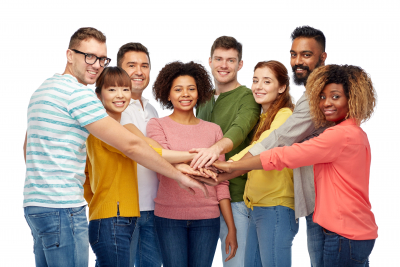international group of happy smiling men and women holding hands together